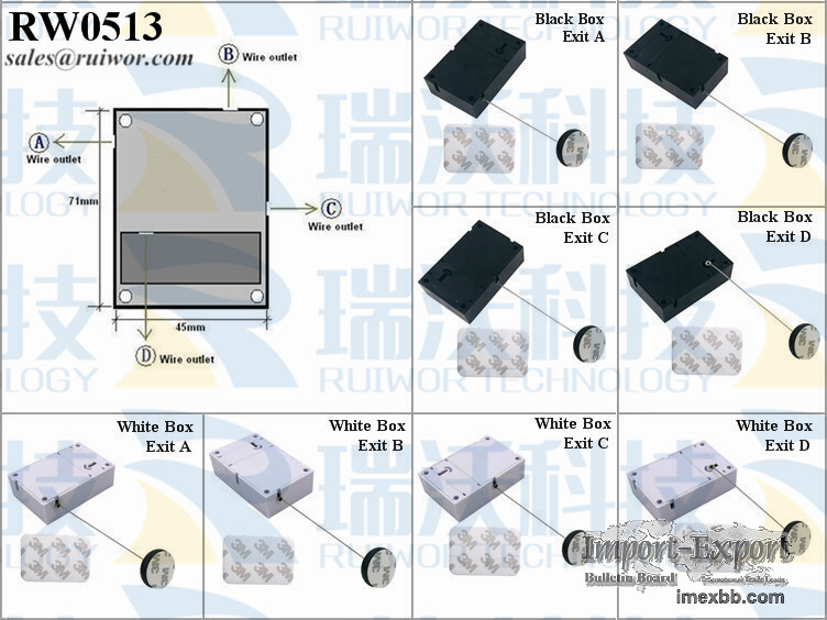 RW0513 Cuboid Anti-theft Pull Box with Circular Adhesive ABS Block