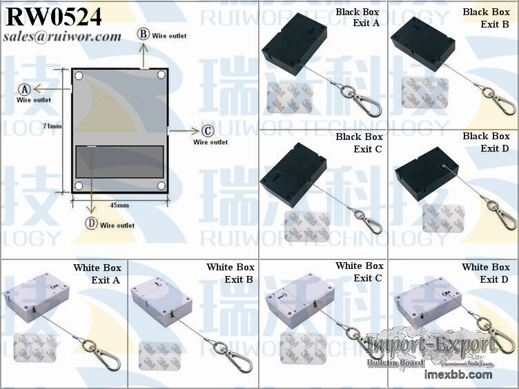 RW0524 Cuboid Retractable Wire Pull Box with Key Hook Cable End