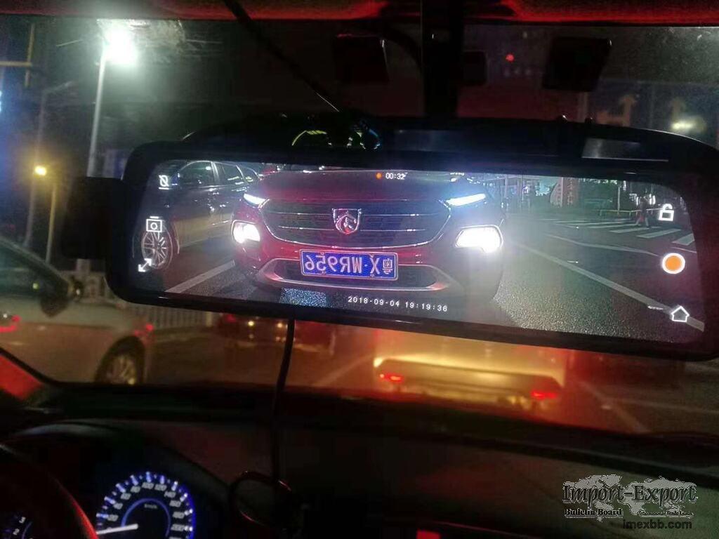 9.66 Inch Rear View Mirror 1080P Dual Lens Reversing Image Star Night Visio