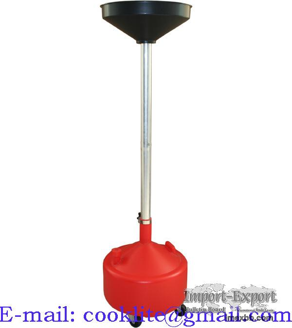 Olie opvang bak 30 liter, op voet met trechter