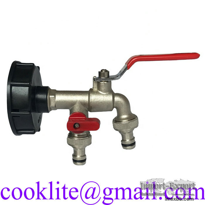 IBC Brass Water Tank Adapter Double Head Tap Outlet Faucet Replacement Valv