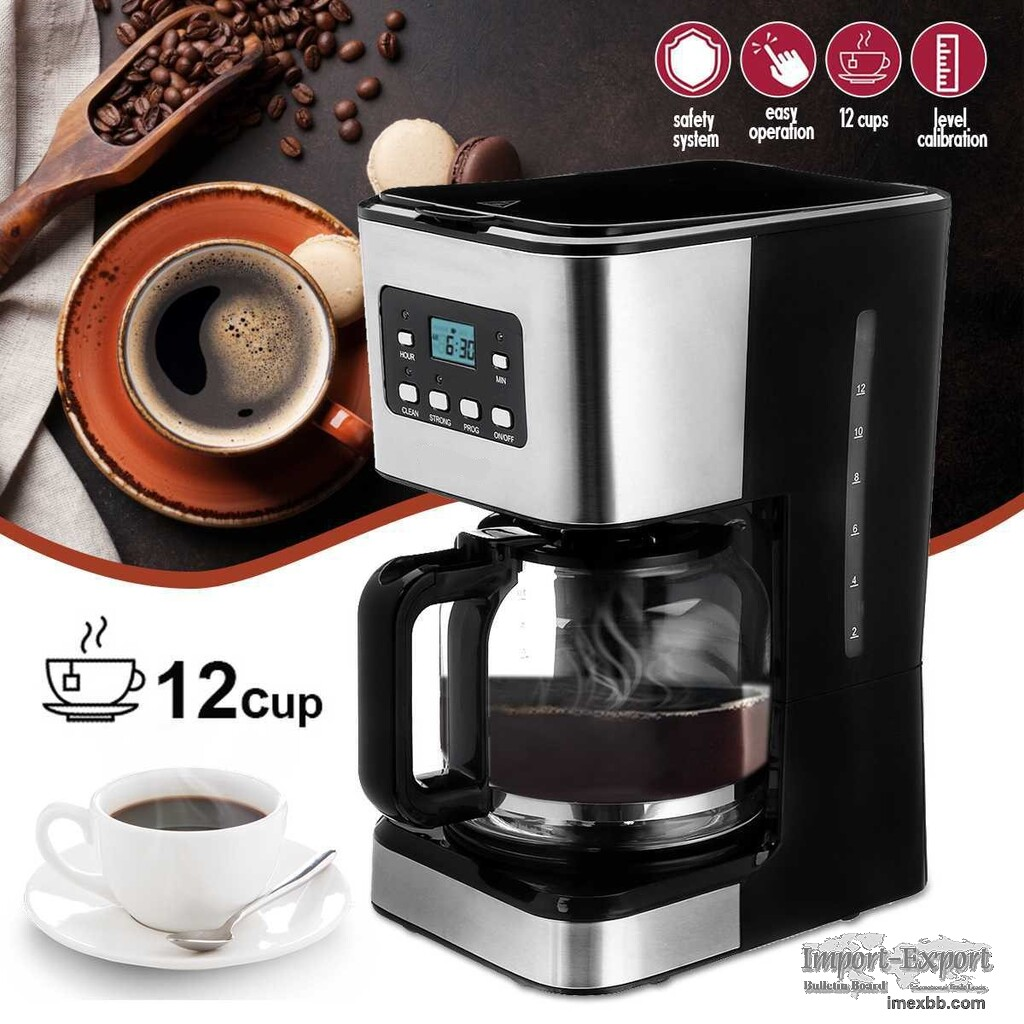 950W 1.5L 12 Cups Multi-Functional Coffee Maker With 6 Switches