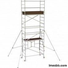Metaltech 12ft. Easy-Set Aluminum Scaffold Tower with Guardrail and Outrigg