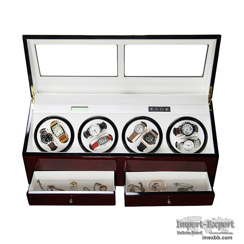 8 Slots Automatic Motor Wooden Watch Winder   Automatic Watch Winder
