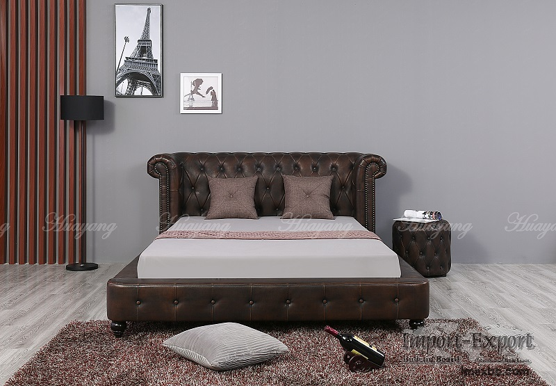 Luxury Royal Style Bed PU/ Leather Bedroom Furniture