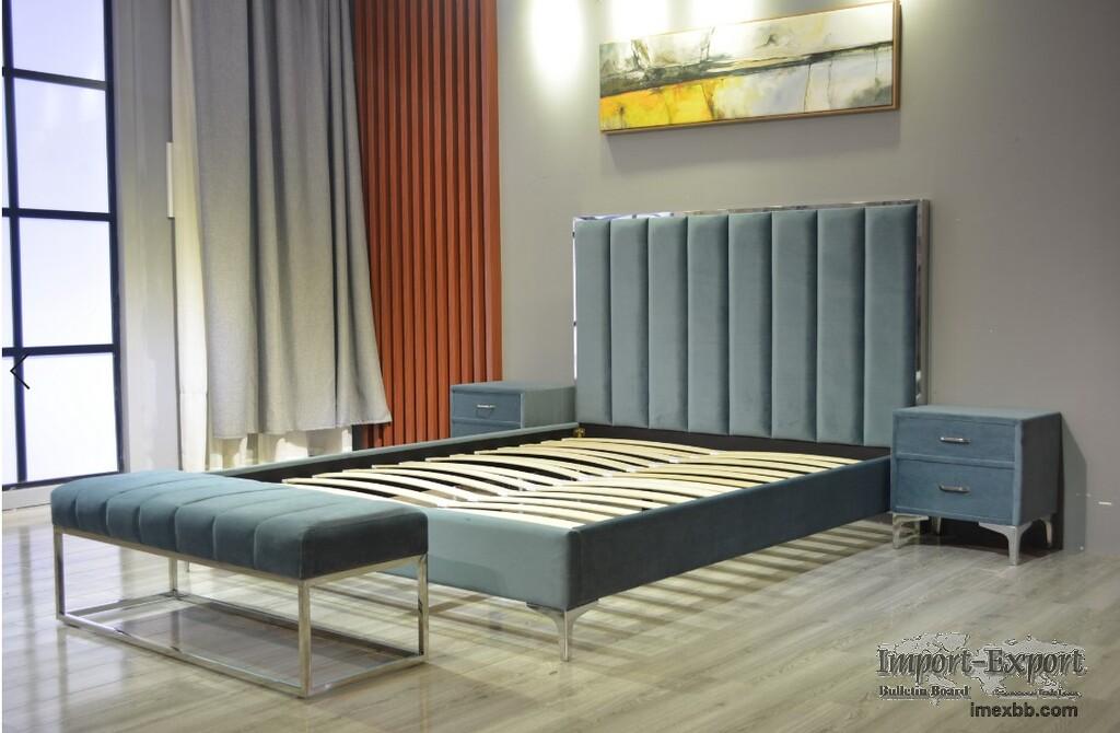 Flat Bed Modern Bed Storage Bed Home Furniture Set Cloth Upholstered Bed Ad