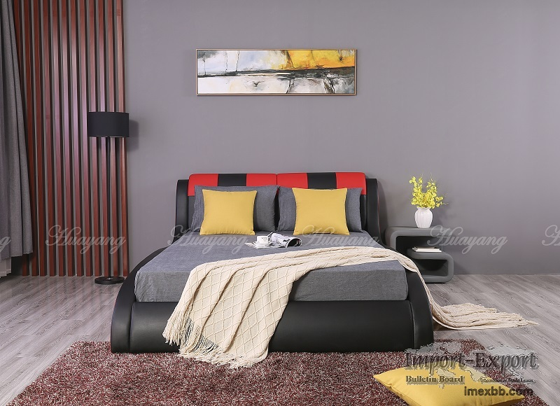 Double Color PU Bed Double Bed Bedroom Bed King Bed Sofa Bed Modern Bedroom