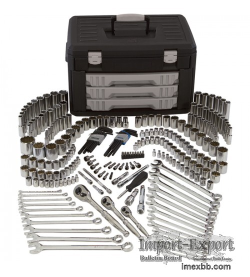 Klutch Mechanic's Tool Set 245 Pc., 1/4in., 3/8in & 1/2in Drive