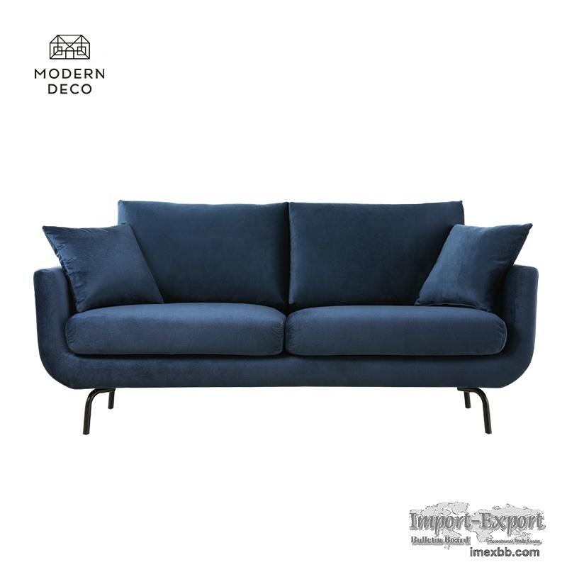 contemporary modern 2 seater sofa european couch navy blue  2021