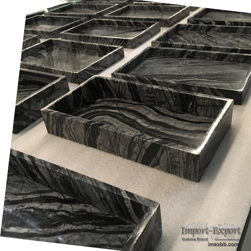 Wooden Black Marble tray