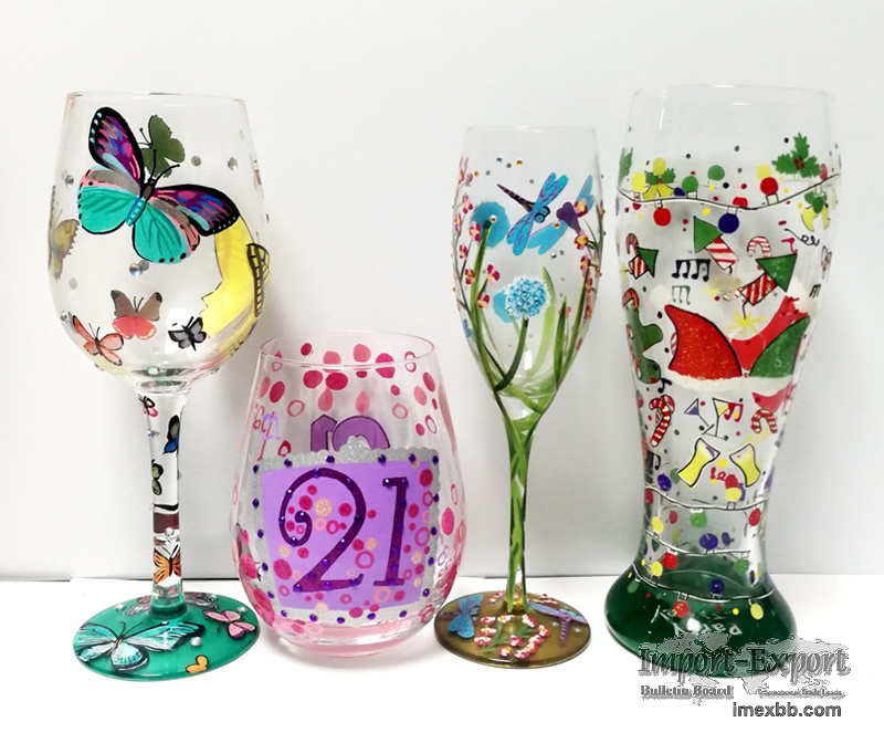 Hand Painted Wine Cups