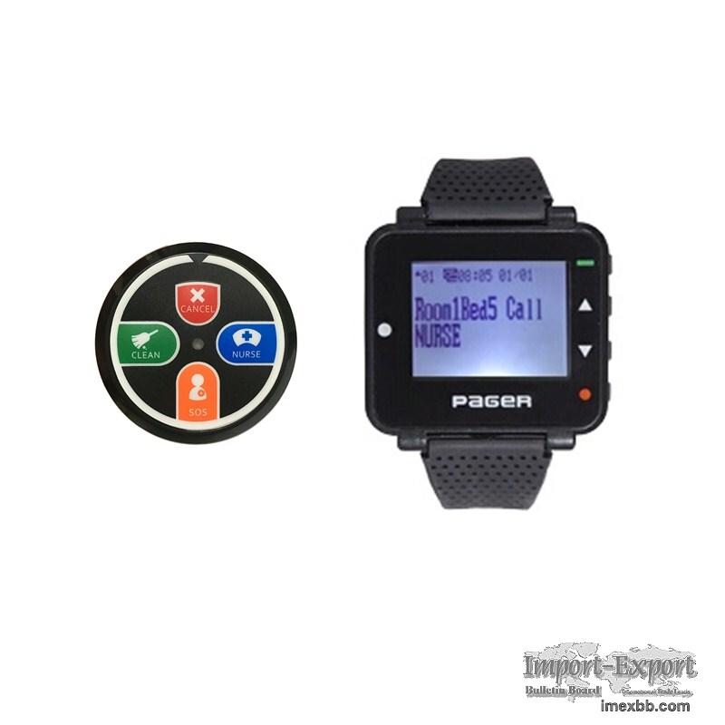 Wireless nurse call bell system pocsag text message watch pager/button