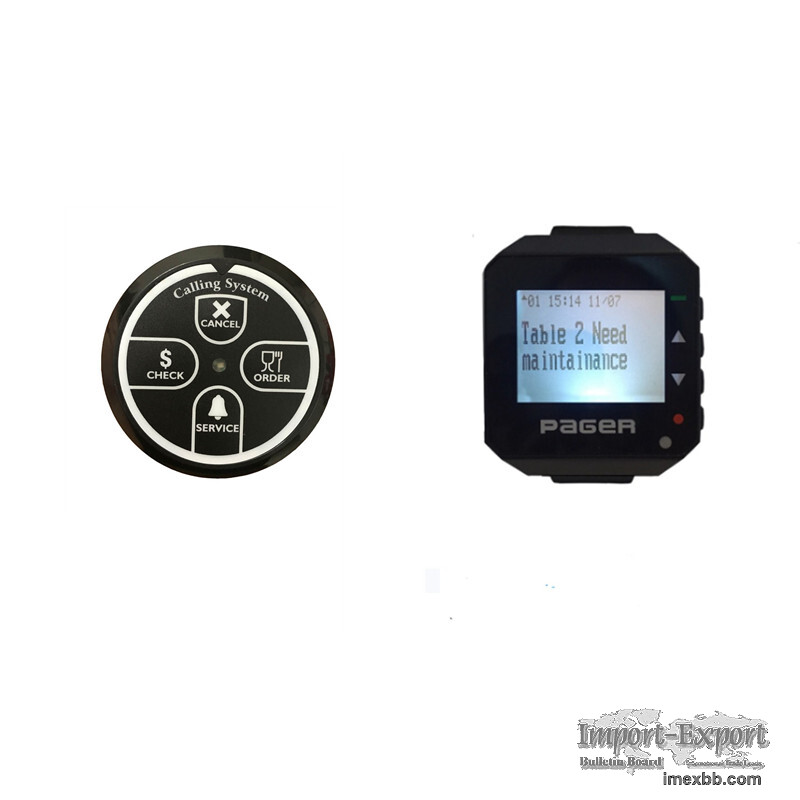 Restaurant wireless calling system table call bell text alpha watch pager