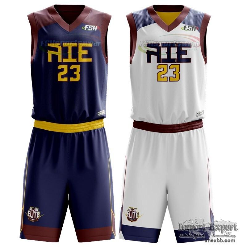 Custom made Sublimated reverse basketball uniform