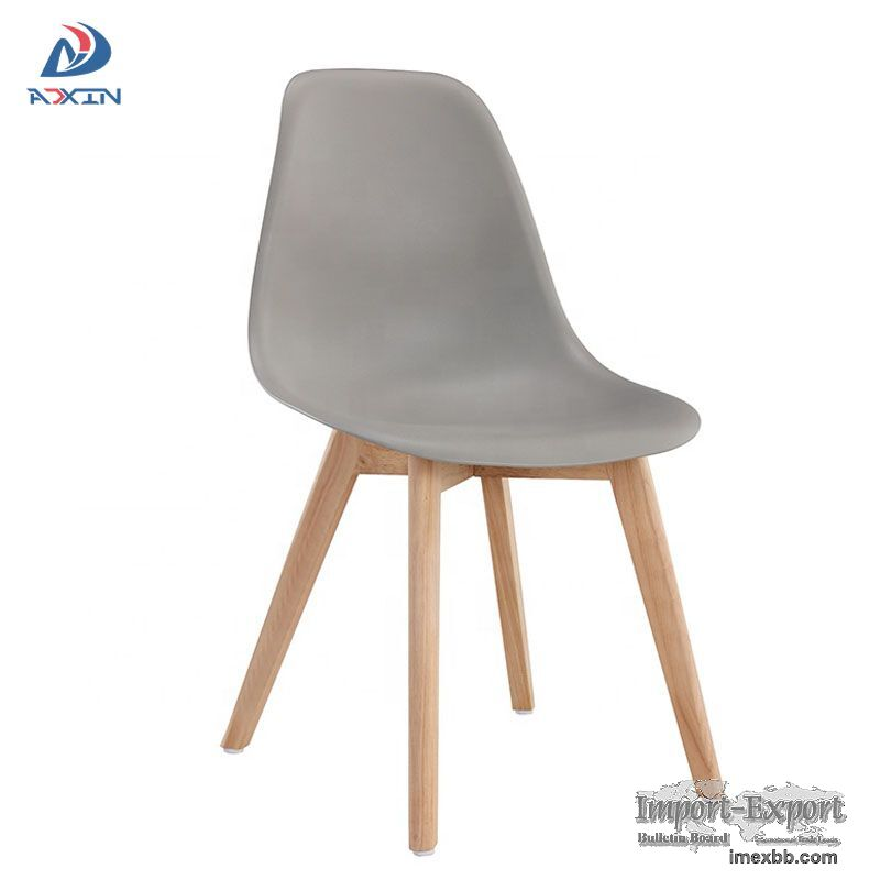 AL-805W Factory wholesale grey dining chair with plastic seat and wood legs