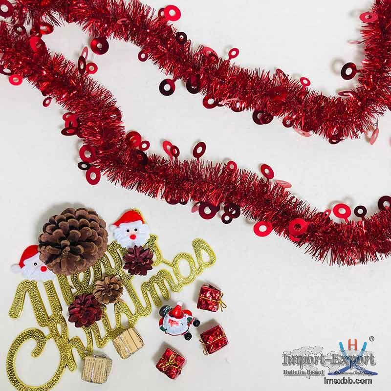 Hexing Wholesale Christmas Circle Tinsel Foil Garland Best Quality Party Fe