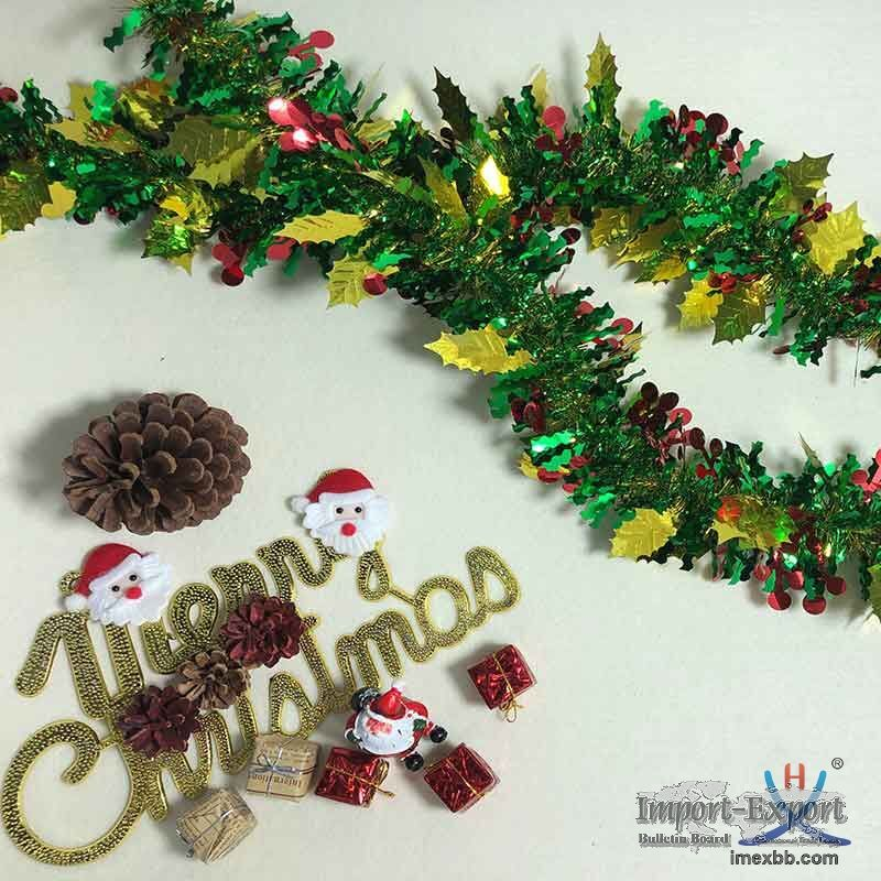 Hexing Hot and New Christmas Berry and Leaf Tinsel Foil Garland Special Gif