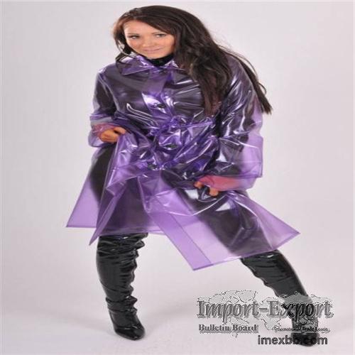 Color customized Translucent adult pvc rainwear