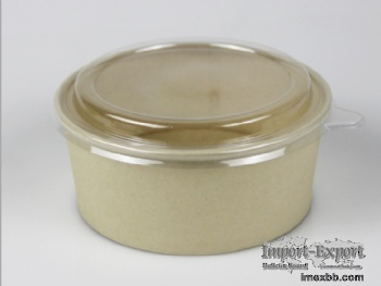 Disposable kraft paper salad bowl with plastic lid for take away