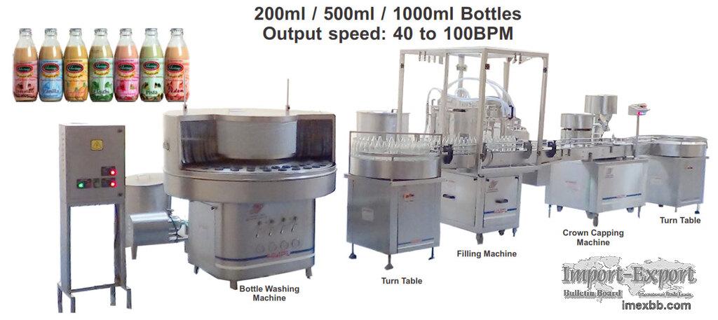Flavoured/Plain Milk Packaging Line for Glass Bottles