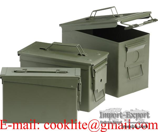 Boîtes métalliques de rangement munitions / Caisses militaires à munition