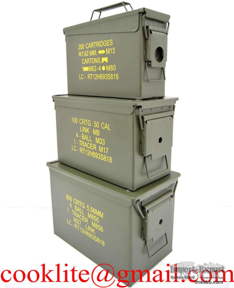 Caisse à munition en métal / Boîte de munitions militaire grand modèle