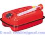 Bränsledunk 5 liter flat reservdunk i röd lackerad stålplåt med skruvlock