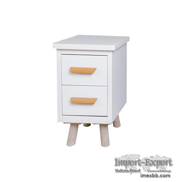 2 Drawer Pure White Wood Modern Nightstand