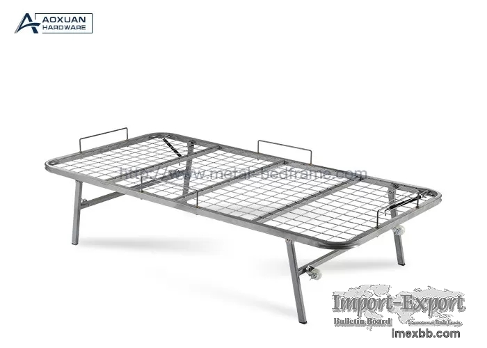 Single Gray Iron Net 90x190cm Collapsible Metal Bed Frame