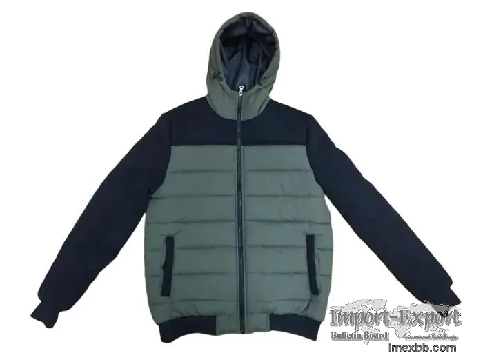Mens Washed Cotton Padded Jacket Green Mens Winter Coats Outerwear
