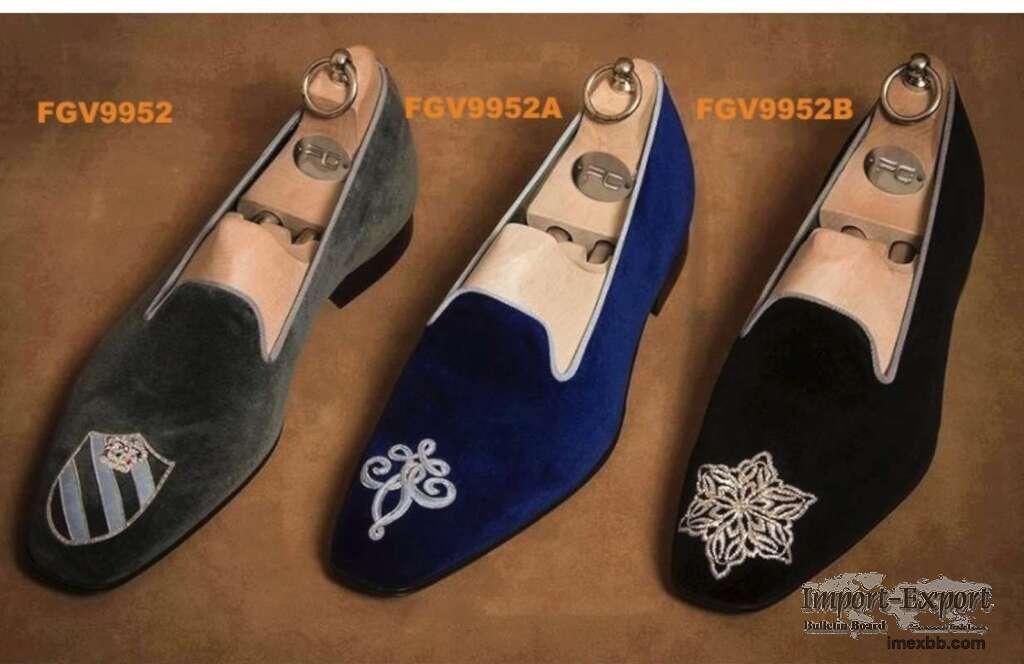 Custom designed velvet loafers