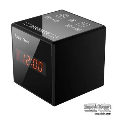128GB Storage 1080P Wifi Alarm Clock Camera , Nanny Cam Clock Radio Bluetoo
