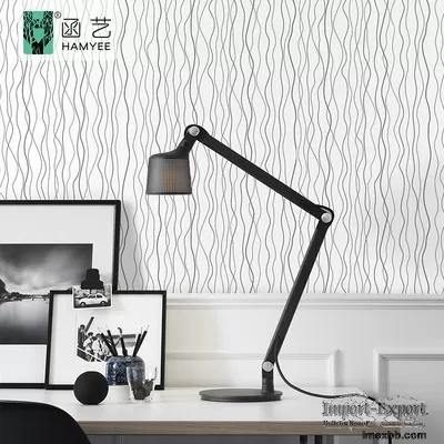 0.45m*10m PVC Waterproof Wallpaper Modern Contact Paper White Stripe Wallpa