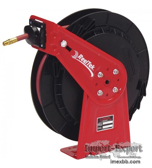 Reeltek Auto-Rewind Air/Water Hose Reel - With 3/8in. x 35ft. PVC Hose, Max