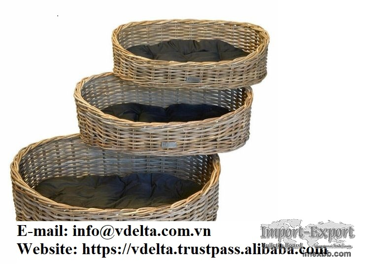 Pets Puppy house Natural woven wicker rattan pet sleeping house baskets fro