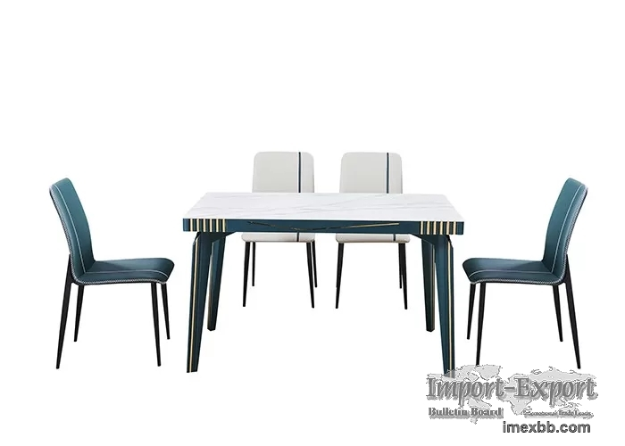 Simple And Stylish Rock Slab Solid Wood Slate Dining Table