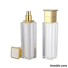 30ml 100ml White Acrylic Empty Square Cosmetic Bottle With Pump Skin Care