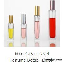 50ml Clear Travel Perfume Bottle , Empty Cologne Bottles With Gold Screw Ca