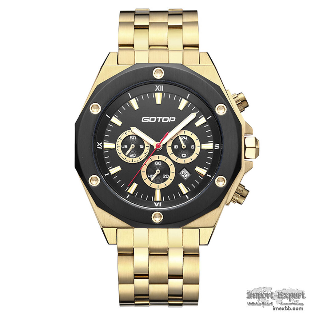 FEATURES OF SS299 GOLD AND BLACK MEN'S STAINLESS STEEL WATCH