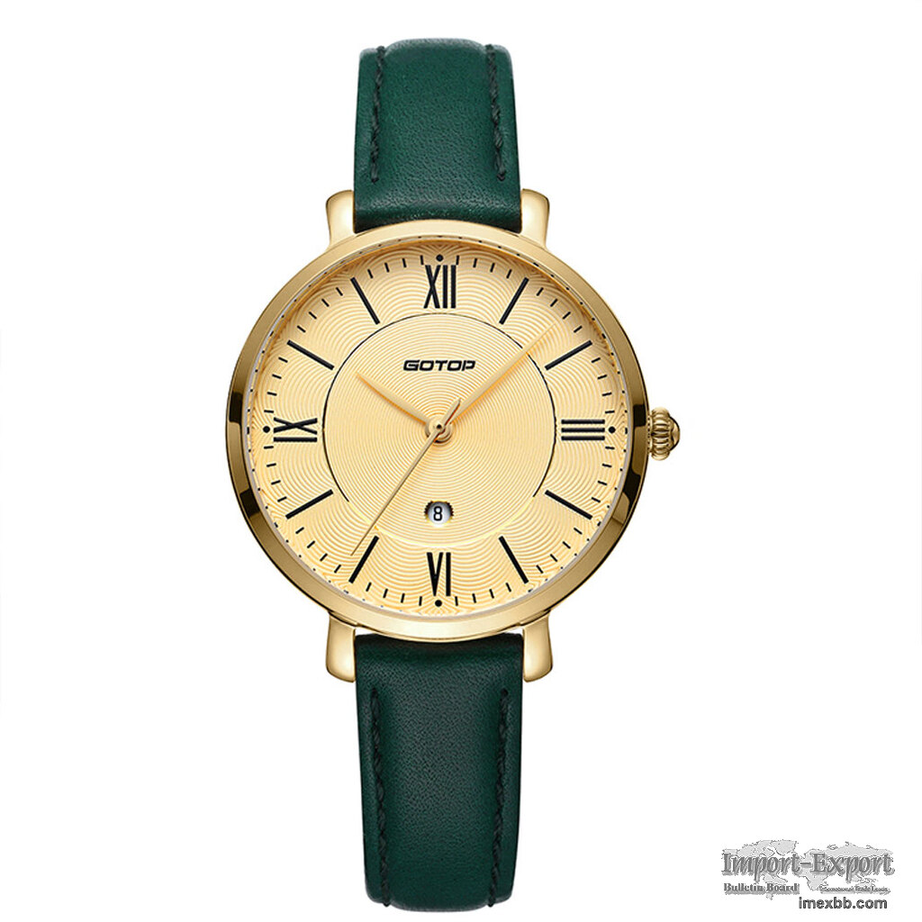 FEATURES OF SS350-01 GOLD AND GREEN WOMEN'S WATCH