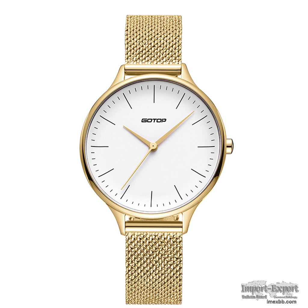 FEATURES OF SS553-02 GOLD AND WHITE WOMEN'S WATCH WITH MESH BAND