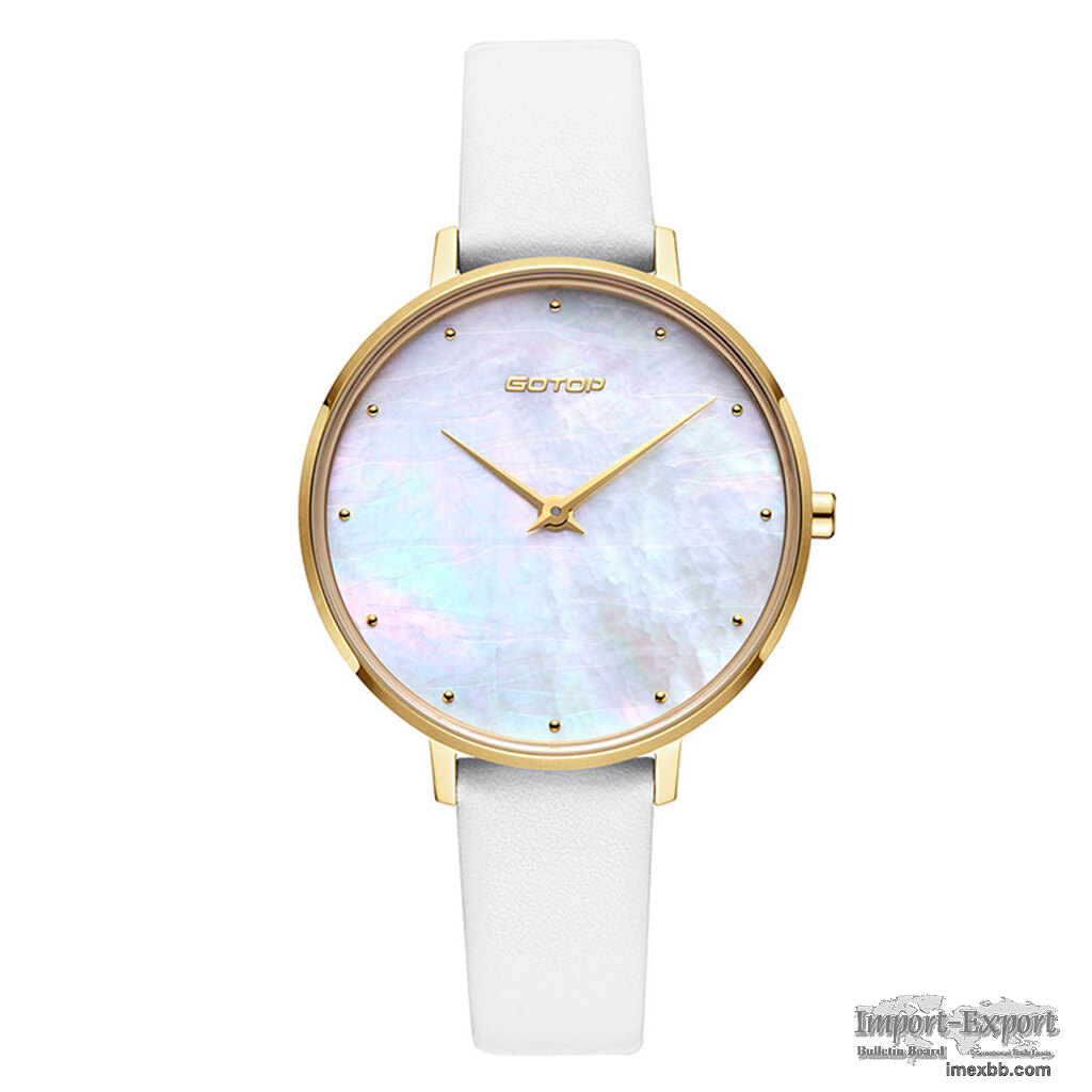 FEATURES OF SS545-01 GOLD AND WHITE WOMEN'S WATCH WITH MOTHER OF PEARL DIAL
