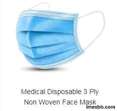 Blue Color 3 Ply Non Woven Face Mask Earloop Breathable Eco Friendly