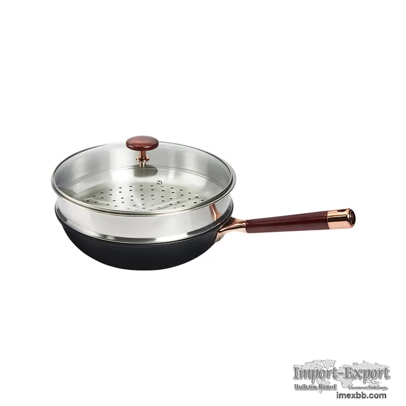 2.5kg Rose Gold Kitchen Frying Pans 32cm Uncoated With Steamer