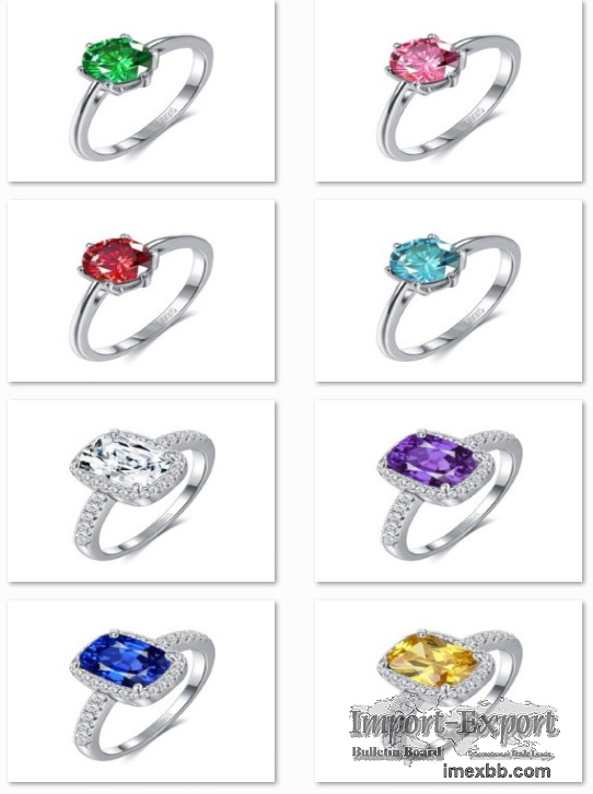 The 925 sterling silver rings are encrusted with assorted zircons