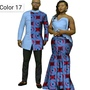 African Couple Cotton Clothing Ethnic Wax Printing Skirt and Men′s Shirt