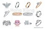 Simple design ring set with zircon ring luxury fashion