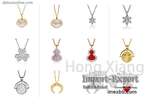 Beautiful zircon cut into various shapes and necklaces are exquisite
