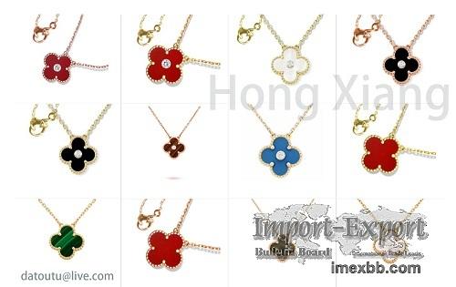 Various Colors Four Leaf Clover Pendant Necklace 925 Sterling Silver