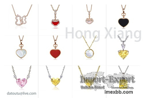 New Heart Shaped Zircon Necklace Various Colored Zircon Necklaces